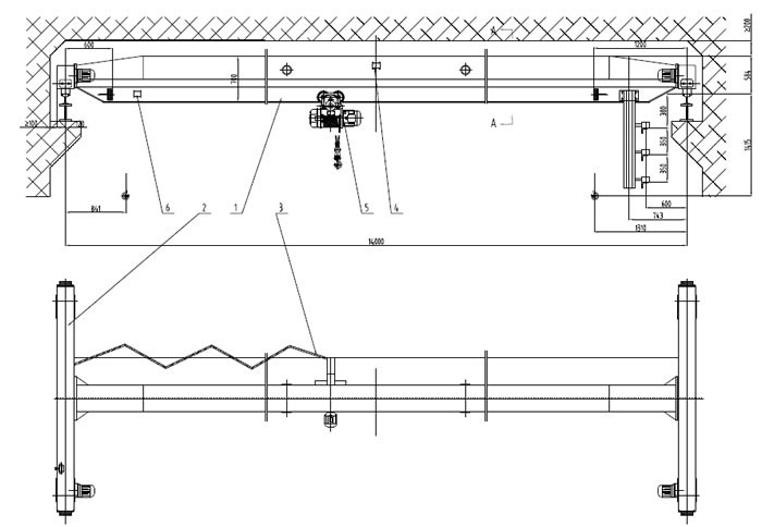 Single Girder Eot Crane Drawing : Single girder overhead crane applied in valve plant