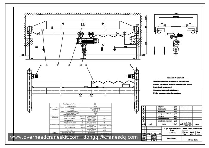 Single Girder Eot Crane Drawing : Overhead crane drawing single girder