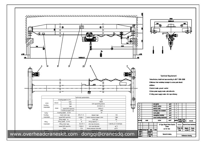 Overhead Crane Autocad Drawing : Overhead crane drawing single girder