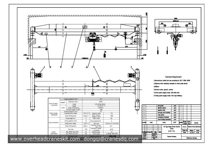 Overhead crane drawing: single girder overhead crane drawings from