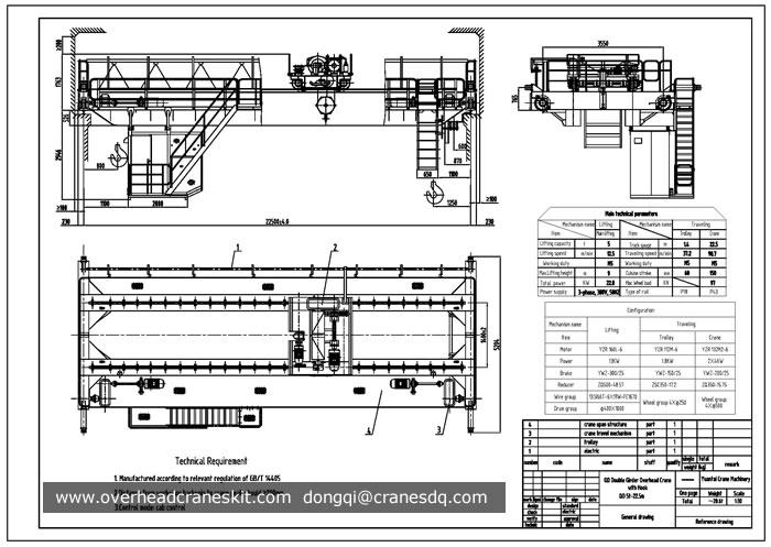 Single Girder Eot Crane Drawing : Overhead crane drawing double girder