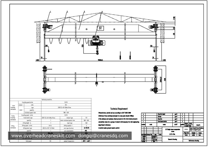 Overhead Crane Autocad Drawing : Overhead crane drawing single girder suspension hoist