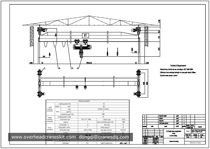 Single Girder Eot Crane Drawing : Overhead crane drawing single girder suspension hoist