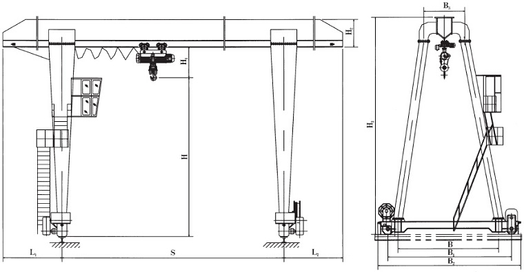 Single Girder Eot Crane Drawing : Single girder electric hoist gantry crane